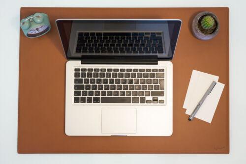 Mousepad xxl gestickte Nähte cm 80x50 Schreibtischunterlage Leder Dunkel Braun