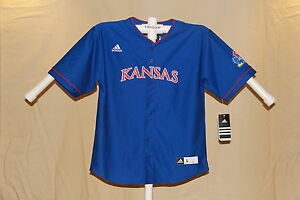 low priced 6f671 c6db9 Details about KANSAS JAYHAWKS sewn letters logo BASEBALL JERSEY ADIDAS  Youth Medium NWT $60