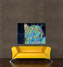 POSTER PRINT PAINTING TRIPPY CAT SPACE WHISKERS SURREAL PSYCHEDELIC SEB515