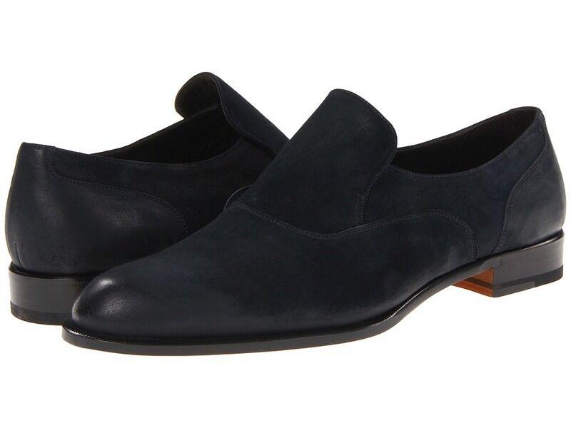 Bruno Magli Rogliano Mocasines Zapatos clásicos para hombre Azul Marino Italia 10.5 M Poco común