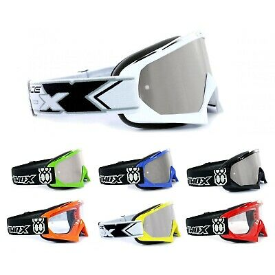 Two-x Race Crossbrille Enduro Mx Occhiali Cross Motocross Argento A Specchio Solid-