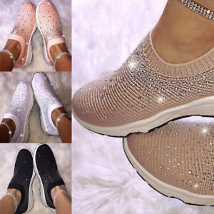 Women-Sport-Air-Cushion-Sneakers-Running-Shoes-Crystal-Fly-Woven-Slip-On-Loafers