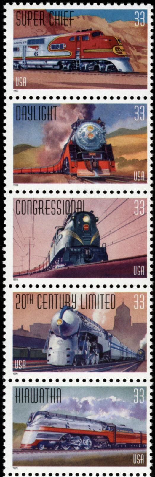 1999 33c All Aboard, Trains Strip of 5 Scott 3333-37 Mi