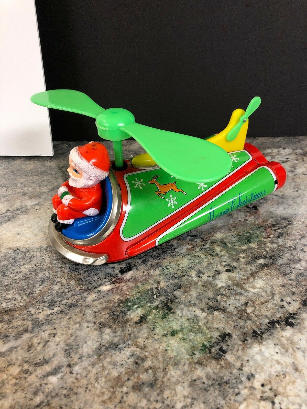 1970's MASUDAYA   MODERN TOYS (Japan) Tin SANTA COPTER Christmas Helicopter Toy