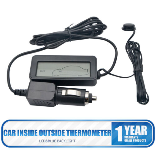 Neu Auto LCD Digital Innen//Außen Thermometer 12V Blau