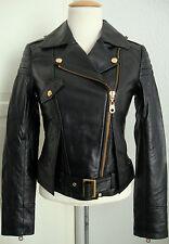 MISS SIXTY Leather Jacket Damen Lederjacke Bikerstyle Black Gr.XS NEU mit ETIKET