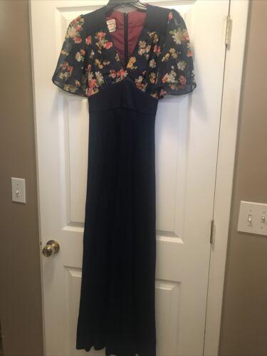 Vintage Young Edwardian Anpeja Blue Floral Dress s