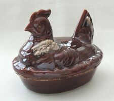 H.P. Co.Hull Oven Proof USA Pottery Brown Drip Casserole Dish w/Chicken Hen Lid