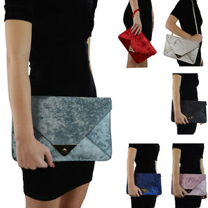 Womens-Clutch-Bag-Evening-Velvet-Ladies-Envelope-Wedding-Party-Prom-Handbag