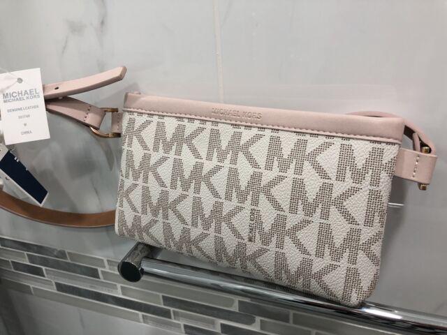 19eb75da72848f Michael Kors MK Signature Logo Belt Wallet Fanny Pack Bag Vanilla NWT $68 M  Size
