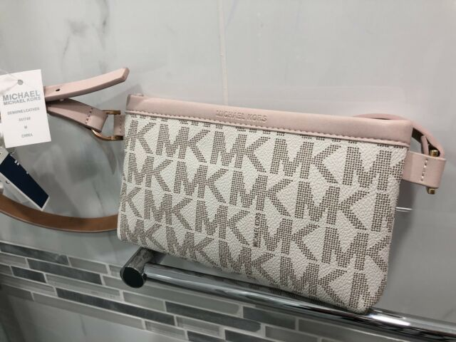 b42eea2617f4 Michael Kors MK Signature Logo Belt Wallet Fanny Pack Bag Vanilla NWT $68 M  Size