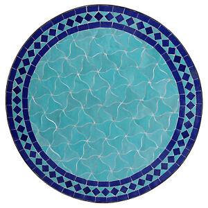 Détails sur Marocain Rond Table en Mosaïque Plateau à Thé Bistrot Hilal  Bleu Océan / D60cm