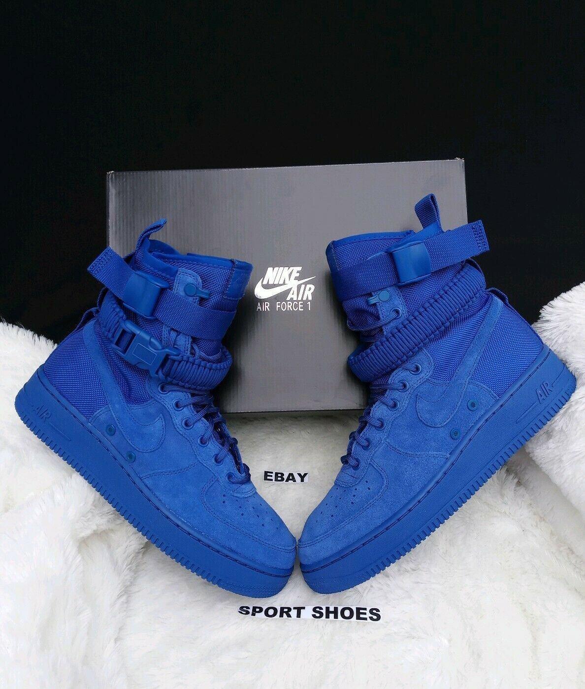 Size 11.5 MEN'S Nike SF AF1 Royal blueee suede Athletic Sneakers 864024 401 boots