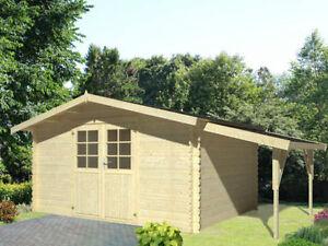 34-mm-Gartenhaus-Greta-ca-4x3m-amp-Holz-Schleppdach-Geraetehaus-Blockhaus-Datsche