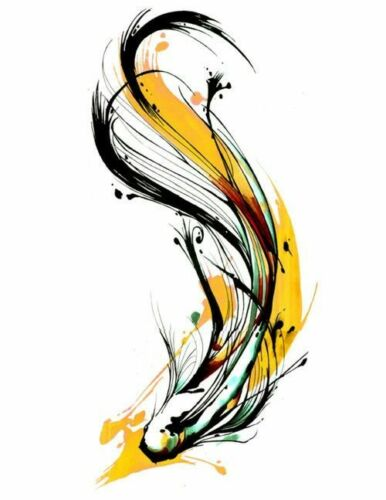 Modern Abstract Beautiful Fish Art Watercolour Canvas Painting wall choose size