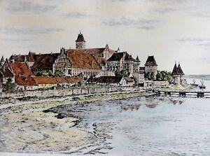 Richard-ADLER-1907-1977-Farb-Radierung-DIE-MARIENBURG-BEI-DANZIG-Pommern