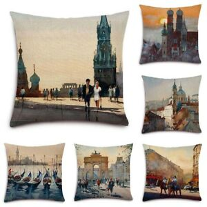 City-Building-Cotton-Linen-Pillow-Case-Waist-Throw-Cushion-Cover-Home-Decor
