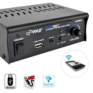 New PCA12BT 2 x 25W Bluetooth Stereo Mini Power Amplifier AUX-In USB Charge Port
