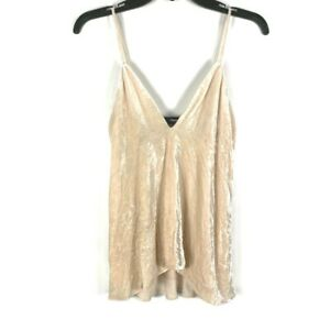 Theory-Womens-Camisole-P-XS-Beige-Pink-V-Neck-Draped-Crinkle-Velvet-Tank-Top-New