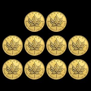 BANK-WIRE-Canada-1-oz-Gold-Maple-Leaf-9999-Random-Year-Lot-of-10