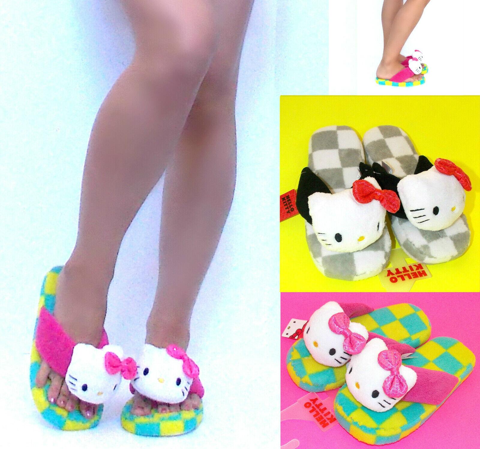 Hello Kitty Cartoon Retro 3D Plush Adult Slippers