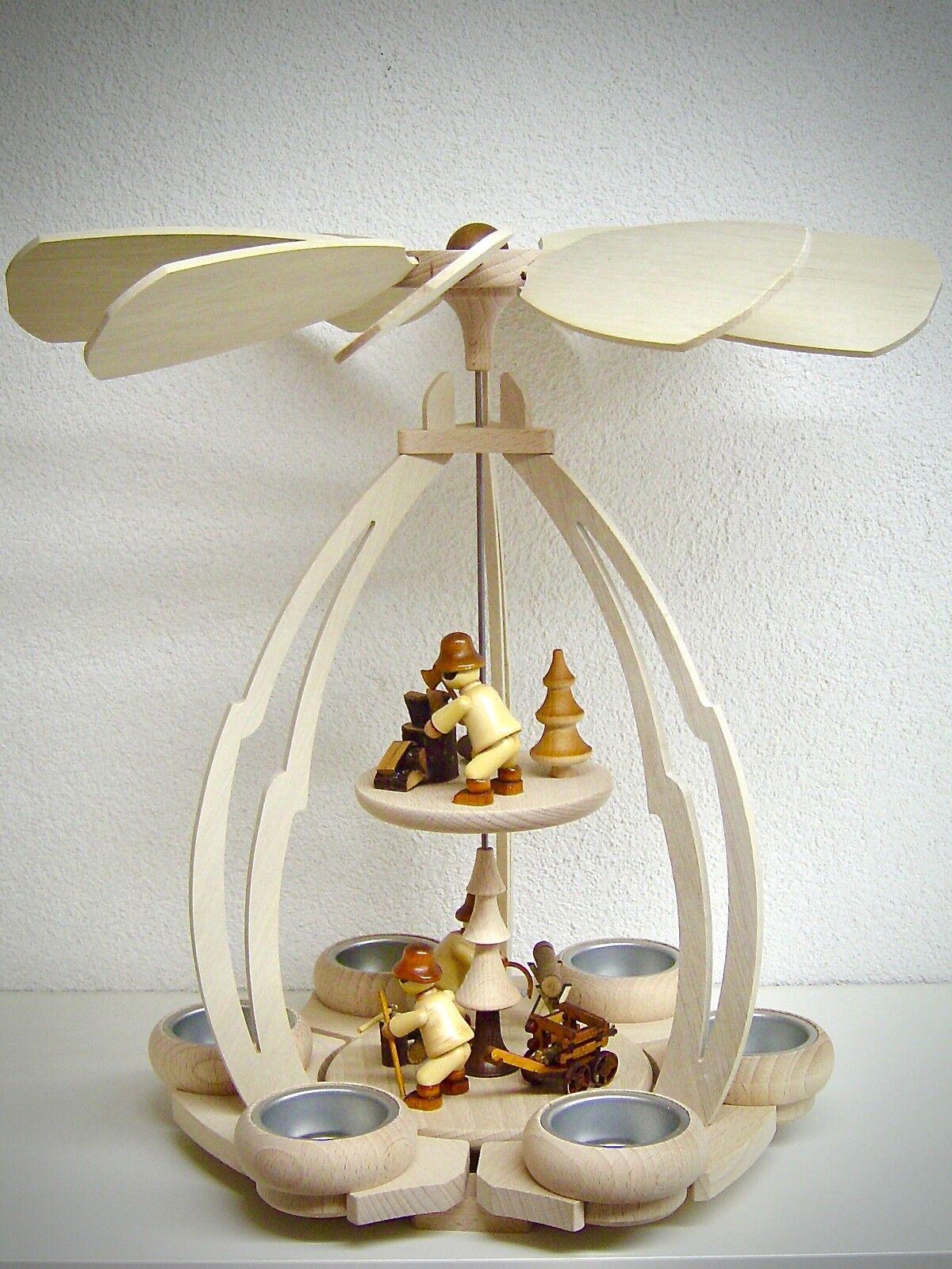 Photophore Pyramide avec 3 figurines enfants d'HIVER travailleur FORESTIER 2
