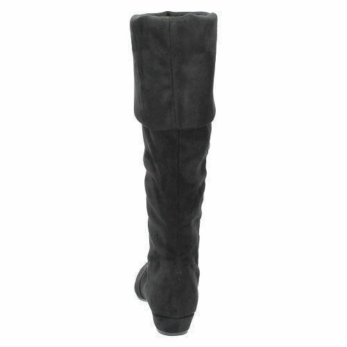 SALE Ladies F50202 black textile long boot by Spot On NOW £9.99