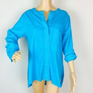 Soft-Surroundings-Fringy-Shirt-Blouse-Top-Small-Aruba-Blue-Long-Sleeve-High-Low