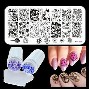 Born-Pretty-Flowers-DIY-Nail-Stamping-Plate-Nail-Stamp-Plate-Stamper-Scraper-Kit