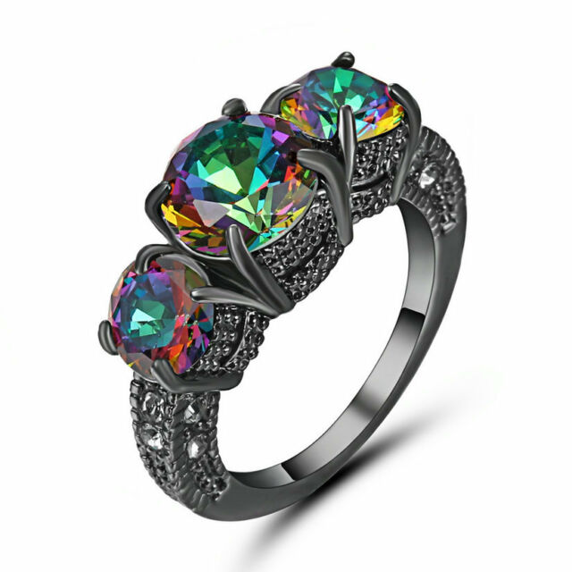 Rainbow Shire Claw Ring Black Rhodium Plated Wedding Rings Band Size 8 Gift