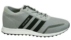 Dettagli su Adidas Los Angeles Uomo Scarpe Ginnastica con Lacci Grigio Nero Tessuto BY9605