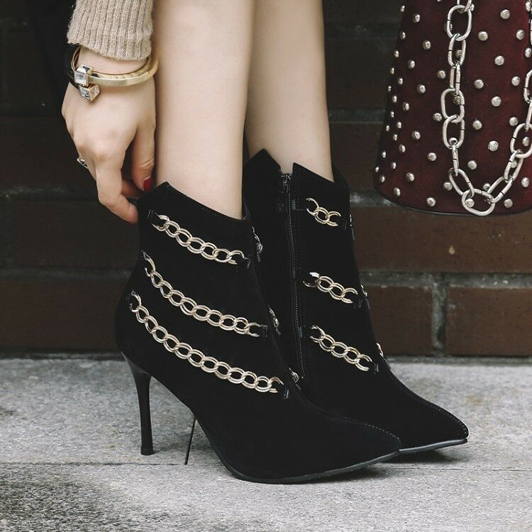 Women Slim High Heels Pointed Toe Chain Ankle Boots Side Zip Stiletto Party shoes