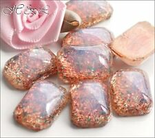 2 FIRE OPAL Glass 18x13mm Vintage Flatback Milky Pink OCTAGONS Cabochon UF Cabs