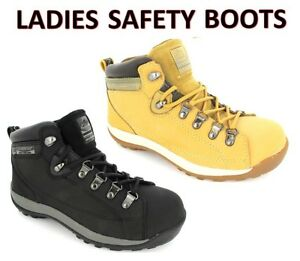 cfa7362426f Details about LADIES WOMENS SAFETY WORK BOOTS TRAINERS GROUNDWORK TAN BLACK  STEEL TOE CAP
