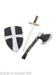 Ragazze-Bambini-Per-Crusader-Arma-Set-Armour-Ascia-Accessorio-Vestito