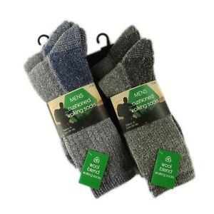 4-Pairs-Of-Men-039-s-Cushioned-Sole-Walking-Socks-Wool-Hike-Trail-Work-Boot-Socks