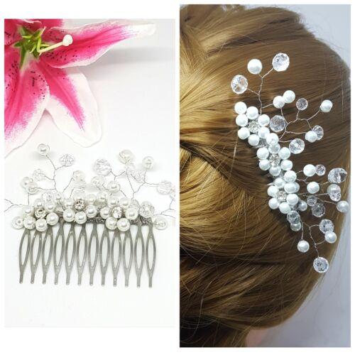 Bridal Wedding Crystal Flower Pearls Hair Comb
