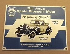 WINCHESTER, VA 1987 AACA SHENANDOAH REGION APPLE BLOSSOM MEET DASH PLAQUE/SIGN
