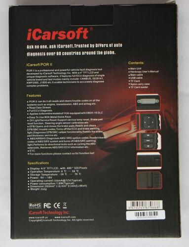 PORSCHE Diagnostic Scanner Tool SRS ABS ENGINE BRAKE RESET iCarsoft PORII i960