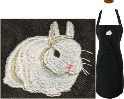 Dwarf Bunny Monogram Apron Adult Large Black Rabbitry Rabbit Rescue Smock Gift