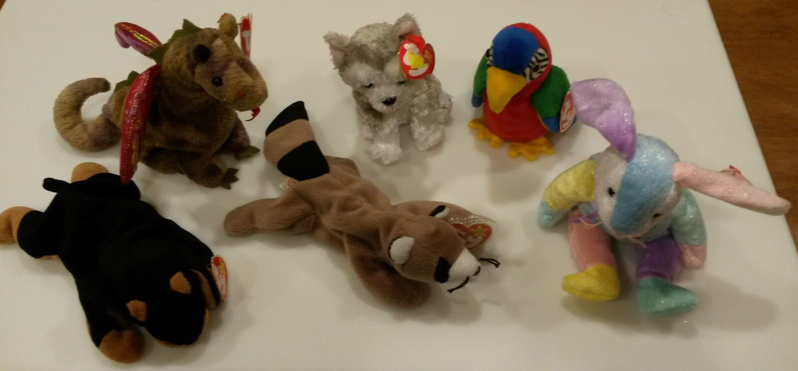 Beanie Baby lot - Scorch, Ringo, Dippy, Juneau, Doby, Jabber NWT - New with Tag
