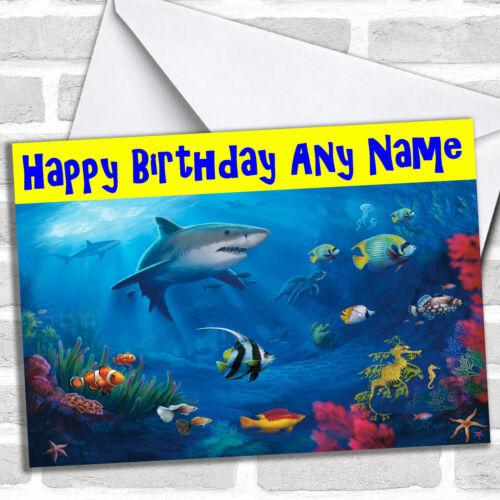 Under The Sea Shark Birthday Customised Card