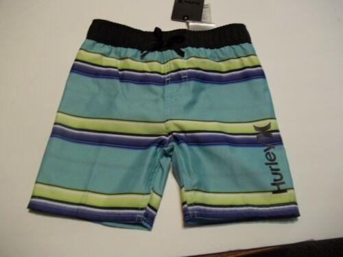 NEW Hurley aqua stripe blue elastic waist boys swim shorts trunk swimsuit 2T  3T