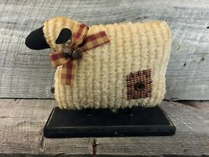 Primitive-Country-Chenille-Sheep-on-Wood-Base-Shelf-Sitter