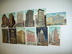 LOT-OF-12-TALL-CHICAGO-BUILDINGS-POSTCARDS