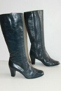 GABOR-Lady-Bottes-Vintage-Cuir-Bleu-Petrole-T-7-5-US-39-FR-TBE