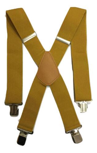 Mustard Yellow Gold Green Men Ladies BRACES ELASTIC Durable 25mm 50mm WIDE