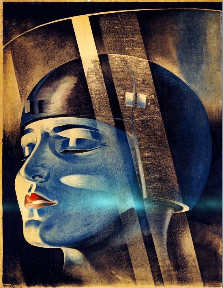 9450.Blau woman with helmet.futuristic.eyes closed.POSTER cor Home Office art
