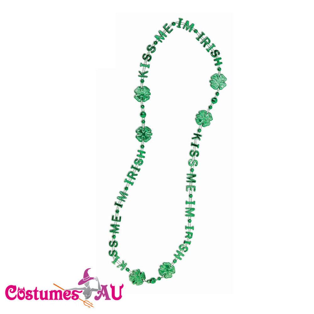 St Patrick's Day Green Beads Shamrock Irish Chain Necklace Bracelet Costume