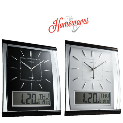 1 of 1 - KG Homewares Silent Wall Clock Digital Large Jumbo Date And Day Display